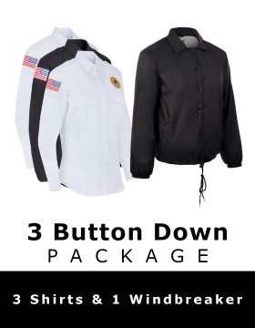 3 Button Down Shirt Package - 3 Shirts & 1 Windbreaker