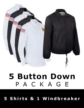 5 Button Down Shirt Package - 5 Shirts & 1 Windbreaker